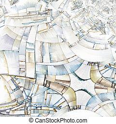 připomínající, město, abstraktní, blokáda, umění