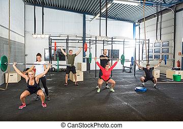 přispívat, barbells, borci, pohyb, cvičitel