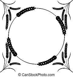 pšenice, konstrukce, osamocený, kolem, temný grafické pozadí, neposkvrněný, monocrome