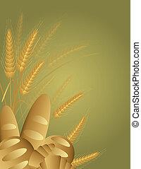 pšenice po vlasu, chléb, s, pšenice stonek, ilustrace