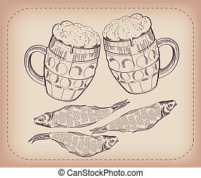 půllitr k pivo, a, snack