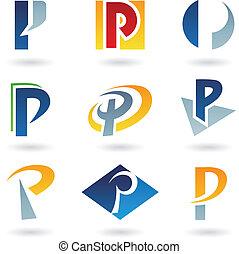 p, astratto, lettera, icone