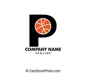 p, basquetebol, modelo, letra, logotipo