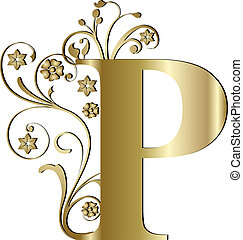 p, brief, goud, hoofdstad