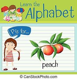 p, brief, pfirsich, flashcard