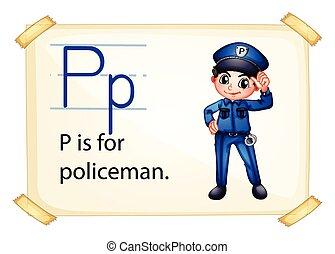 p, brief, politieagent