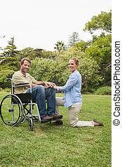 p, cadeira rodas, atraente, homem