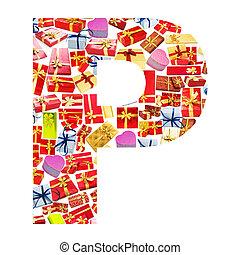 p, carta, -, alfabeto, hecho, de, giftboxes