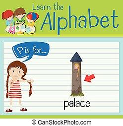p, carta, palacio, flashcard