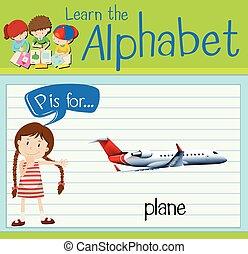 p de carta, flashcard, avión