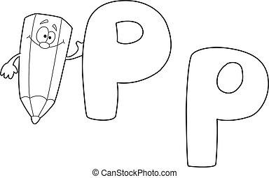 p, delineato, verde, lettera, matita