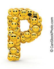 p, emoticons, lettre