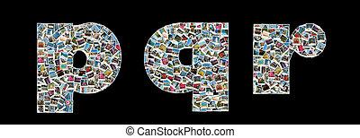 p, en, r, literas, gemaakt, zoals, collage, van, reizen, foto's