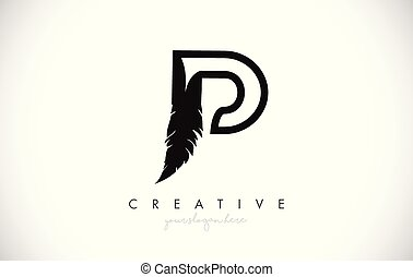 P Feather Letter Logo Icon Design With Feather Feathers Creative Look Vector Illustration