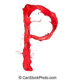 """""""p"""", fond, isolé, peinture eclabousse, lettre, blanc rouge"""
