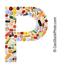p, gemacht, zeichen, pillen, bunte