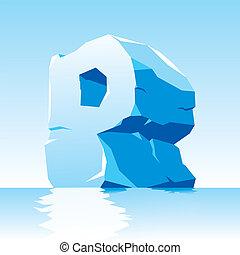 p, glace, lettre