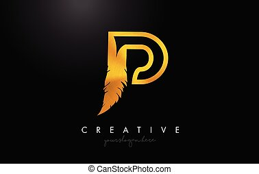 P Golden Gold Feather Letter Logo Icon Design With Feather Feathers Creative Look Vector Illustration