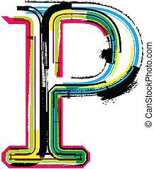 p, grunge, coloré, lettre