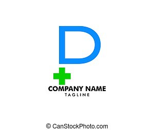 P Initial Letter cross medical logo vector template