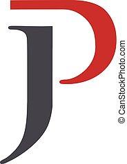 p, j, letra, logotipo