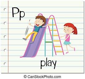 p, jogo, letra, flashcard
