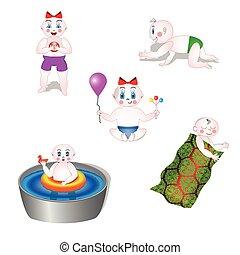 P, juego, Movimiento, diferente, bebes
