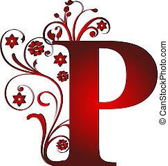 p, letra, vermelho, capital