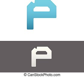 P Letter Alphabet Abstract vector text logo
