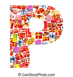 P Letter - Alphabet made of giftboxes