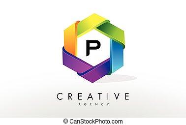 P Letter Logo. Corporate Hexagon Design