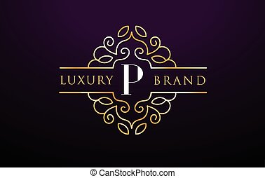 P Letter Logo Luxury.Royal Monogram Design with Golden Metal...