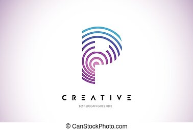 P Lines Warp Logo Design. Letter Icon Made with Purple...