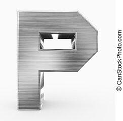 p, métal, 3d, isolé, lettre, cubique, blanc