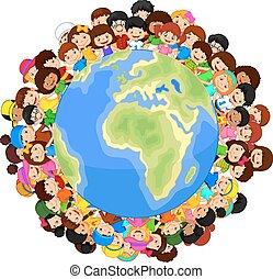 p, multicultural, bambini, cartone animato