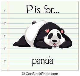 p, panda, carta, flashcard