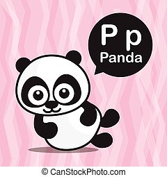 P Panda color cartoon and alphabet for children to learning vector illustration eps10