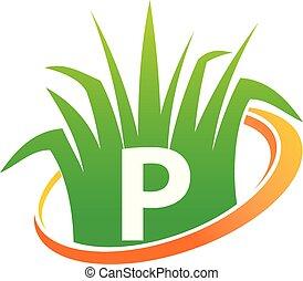 p, pelouse, initiale, centre, soin
