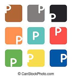 p, skwer, element, litera, logo