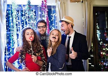 p, vigilia, anni, festeggiare, hipster, photobooth, insieme,...