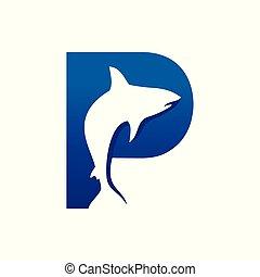 p, visje, aanvankelijk, creatief, lettermark, vorm, ontwerp, symbool