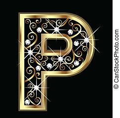 p, zlatý, litera, s, swirly, ozdoby