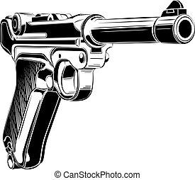 p08, parabellum, retro, vector., pistola, luger