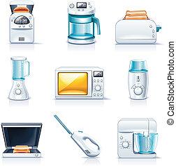p.1, appliances., hushåll, vektor