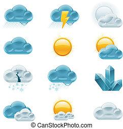 p.1, tempo, icons., vettore, previsione