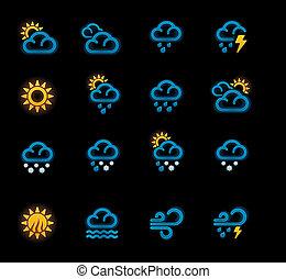 p.1, tiempo, icons., vector, pronóstico
