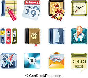 p.1, universale, vettore, quadrato, icons.