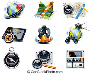 p.1, vecteur, navigation, icons., gps