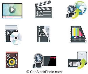 p.1, vecteur, vidéo, icons.
