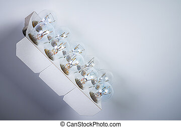 P21W 12V a set of new car bulbs for side lights in a cardboard box